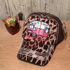 Accessories - Leopard print 'Happy Camper' Cap